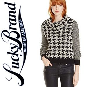 Lucky Brand Houndstooth Cowl Neck Sweater sz S
